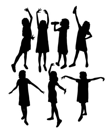 Girl With Thumbs Up Silhouettes, art vector design Archivio Fotografico - 131445970
