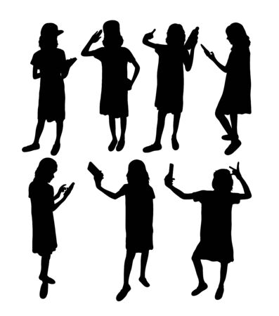 Girl With Smartphone Silhouettes, art vector design 일러스트