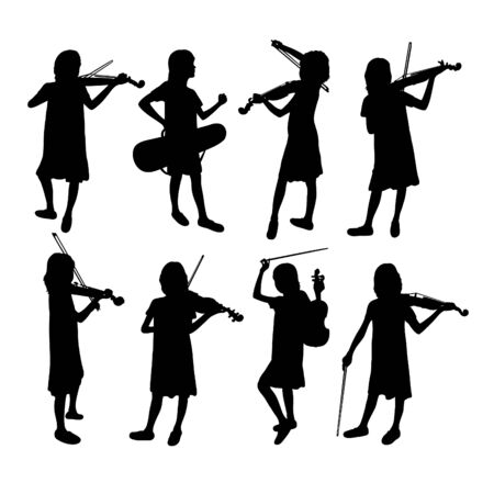 Violinist Silhouettes, art vector design Archivio Fotografico - 131446453
