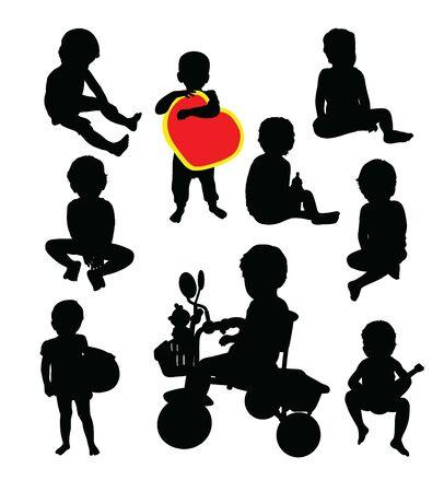 Happy Kid Silhouettes, art vector design Archivio Fotografico - 131446458
