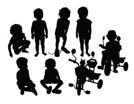 Kid  Activity Silhouettes, art vector design Archivio Fotografico - 131446460