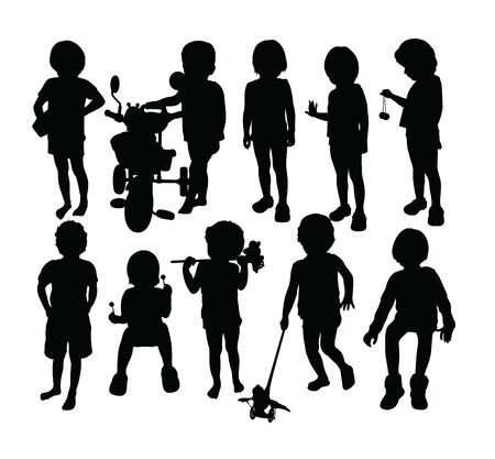 Kid Silhouettes, art vector design Archivio Fotografico - 131446457