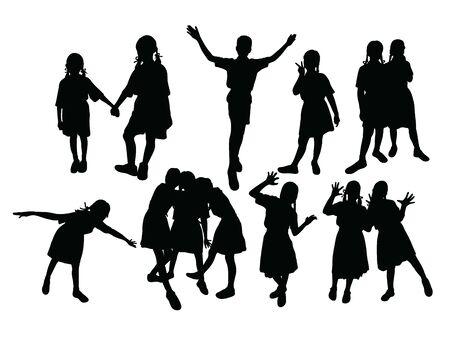 Children Silhouettes, art vector design 일러스트