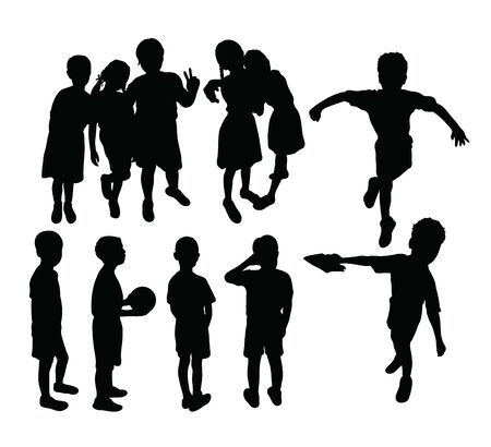 Happy Jumping Children Silhouettes, art vector design Archivio Fotografico - 131446466