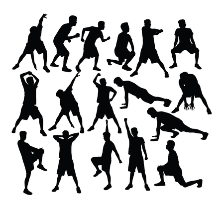 Fitness and Gym Sport Silhouettes, art vector design Banque d'images - 121561468
