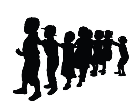 Cute and Funny Kid Silhouettes, art vector design