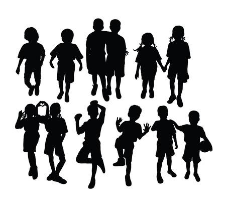 Happy Children Activity In School Silhouette, art vector design Çizim