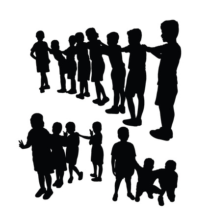 Kids Silhouette Playing Together, art vector design Banque d'images - 120935310