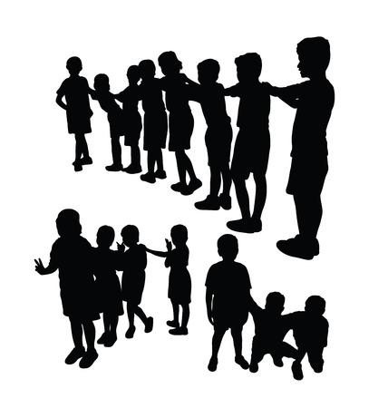 Kids Silhouette Playing Together, art vector design Ilustração