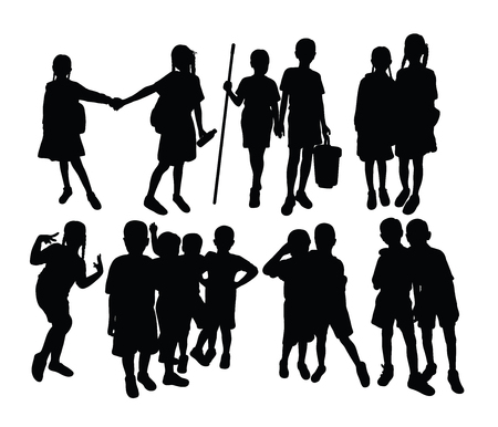 Happy Children Silhouettes, art vector design