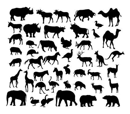 Herbivora Animal Set, art vector silhouette design Archivio Fotografico - 131446469