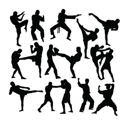 Boxing Silhouettes, art vector design