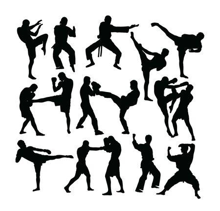 Sagome di boxe, disegno vettoriale d'arte