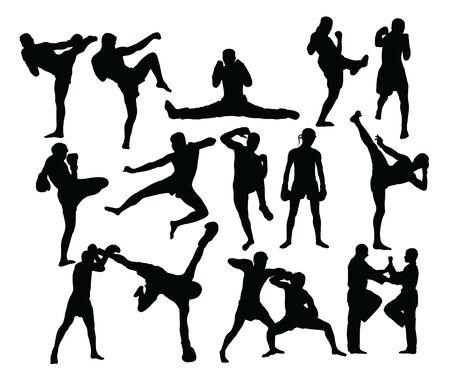 Attività di sagome di sport di boxe, disegno vettoriale di arte