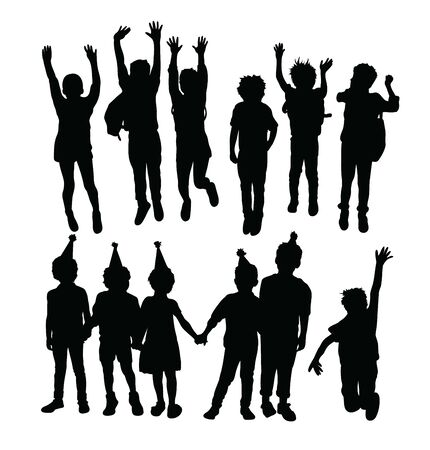 Happy Jumping Children Silhouettes, art vector design Standard-Bild - 131446479