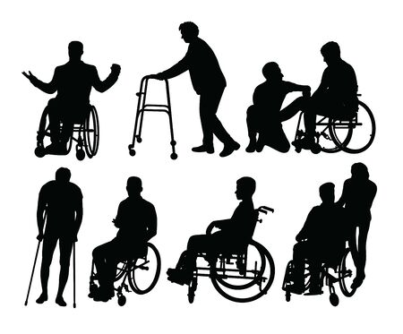 Disabled People Activity Silhouettes, art vector design Illustration