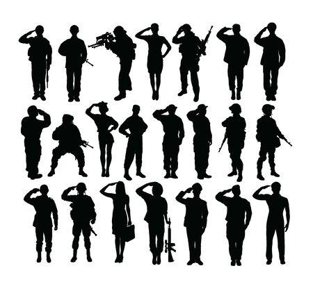 Salutierende Soldaten- und Armee-Silhouetten, Kunstvektordesign