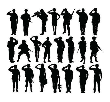 Saluting Soldier and Army Force Silhouettes, art vector design Archivio Fotografico - 131446487