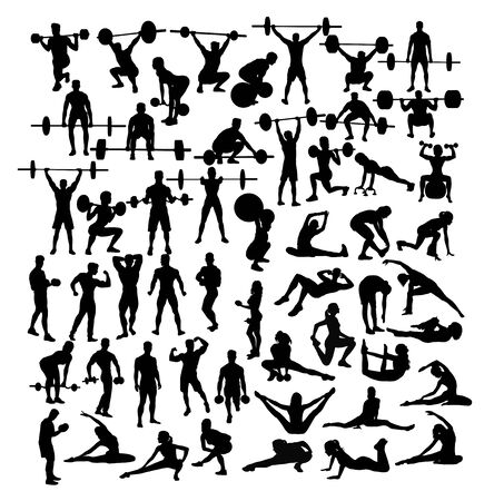Fitness and Gym Activity Silhouettes, art vector design Archivio Fotografico - 131446820