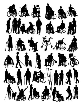 Disabled People Activity Silhouettes, art vector design Archivio Fotografico - 131446833