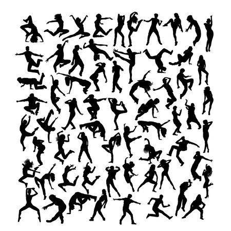 Breakdancer Silhouettes, art vector design Archivio Fotografico - 131446841