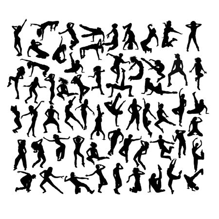 Happy and Fun Breakdancer Silhouettes, art vector design Illusztráció