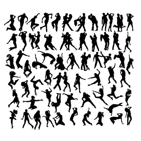 Happy and Fun Breakdancer Silhouettes, art vector design Archivio Fotografico - 131446834