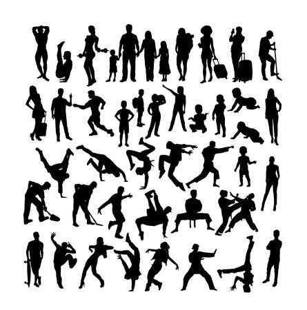 Activity People Silhouettes, art vector design Иллюстрация
