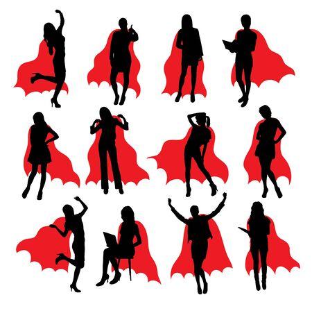 Super Girl Silhouettes, art vector design Векторная Иллюстрация