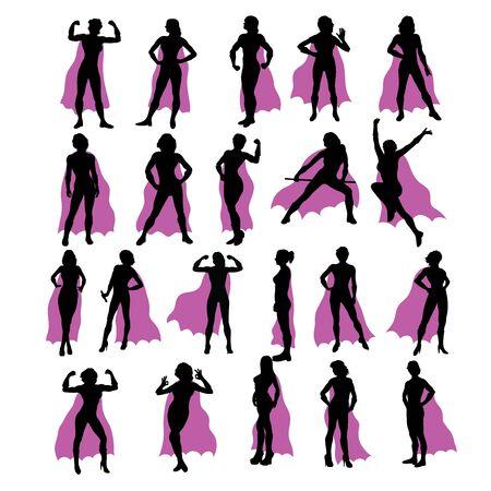 Super Girl Silhouettes, art vector design Archivio Fotografico - 131446846