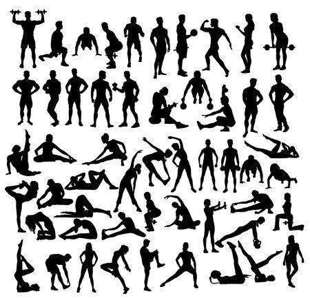 Sport Activity Silhouettes, art vector design Archivio Fotografico - 131446853