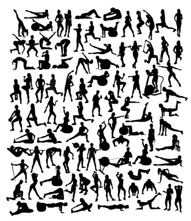 Sport Activity Silhouettes, art vector design Archivio Fotografico - 131446893