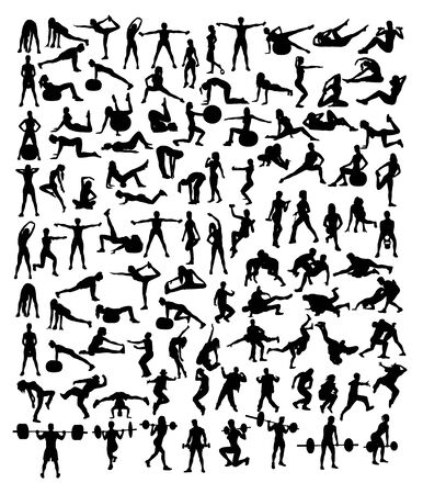 Fitness Gym and Weightlifting Silhouettes, art vector design Archivio Fotografico - 131446898