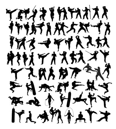 Martial Art Silhouettes, art vector design Archivio Fotografico - 131447325