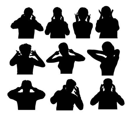 Silhouettes People Are Headaches, art vector design Иллюстрация