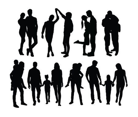 Happy Family Silhouettes, art vector design Standard-Bild - 131447333