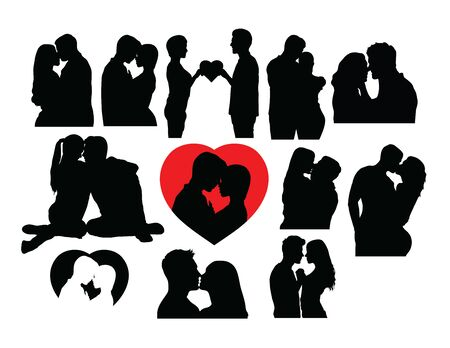 Love Kiss Silhouettes, art vector design