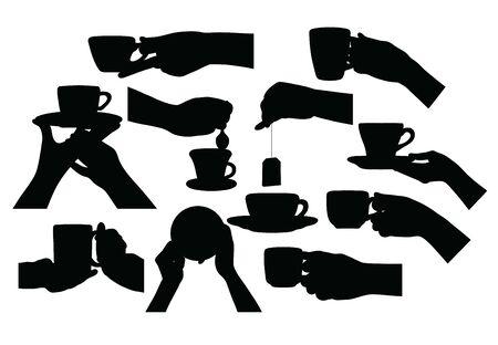 Silhouettes for Drinking Coffee, art vector design Archivio Fotografico - 131447338