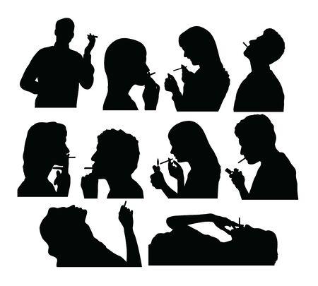 Smoker Silhouettes, art vector design 일러스트