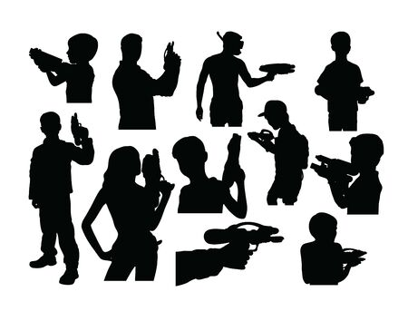 Silhouettes of People Playing Water Shots, art vector design Archivio Fotografico - 131447336