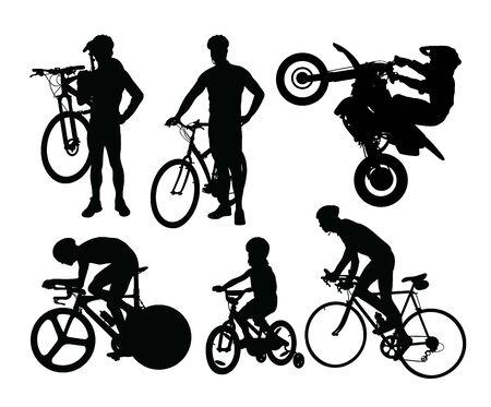 Bike Rider Silhouettes, art vector design Archivio Fotografico - 131447342