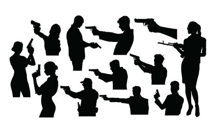 Silhouettes of A Person Holding A Gun, art vector design Иллюстрация
