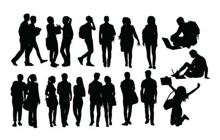 Campus Activity Silhouettes, art vector design