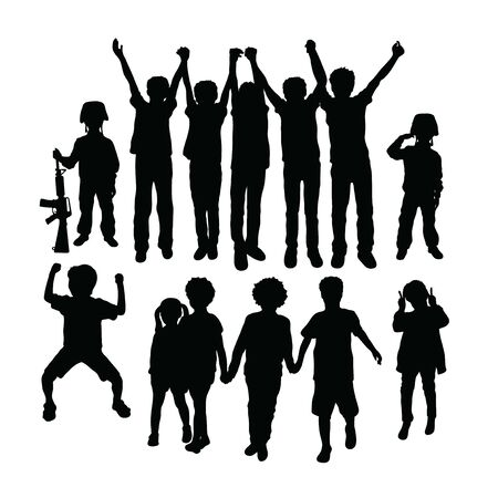 Happy Children Silhouettes, art vector design