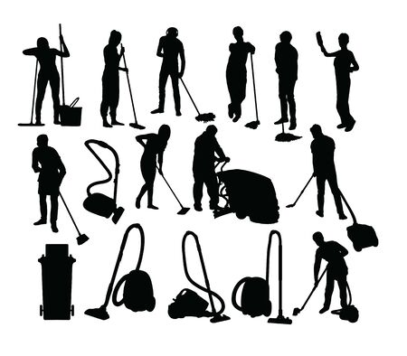 Cleaning Service Activity Silhouettes, art vector design