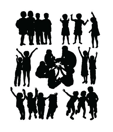 Happy Kids in school Activity, art vector silhouettes design