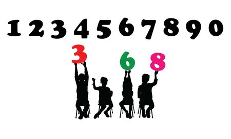Childrens Silhouettes Learn Numbers, art vector design