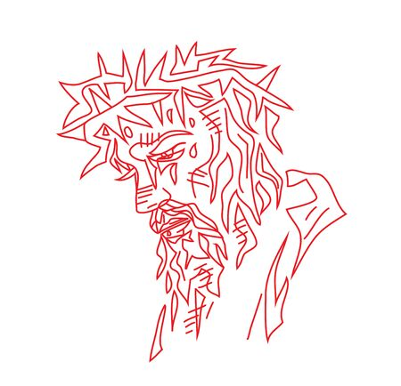 Jesus Face Sketch Drawing, art vector design