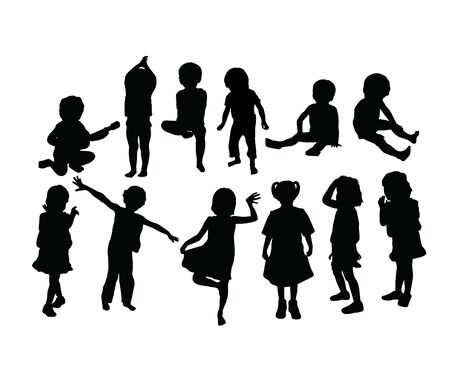 Funny Kid Silhouettes, art vector design