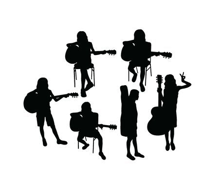 Silhouette of Children Learning the Guitar, art vector design